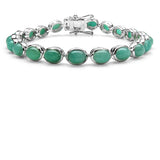 23.10 Carat Genuine Emerald .925 Sterling Silver Bracelet