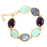 14K Yellow Gold Plated 47.50 Carat Genuine Multi Stone .925 Sterling Silver Bracelet