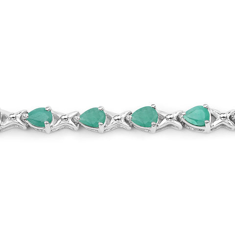 3.36 Carat Genuine Emerald .925 Sterling Silver Bracelet