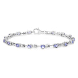 2.72 Carat Genuine Tanzanite .925 Sterling Silver Bracelet