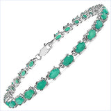 6.70 Carat Genuine Emerald Sterling Silver Bracelet
