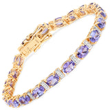 9.43 Carat Genuine Tanzanite and White Diamond 14K Yellow Gold Bracelet