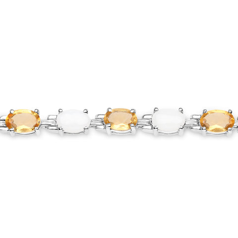 8.14 Carat Genuine Opal and Citrine .925 Sterling Silver Bracelet