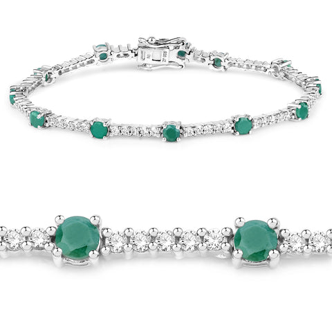 5.69 Carat Genuine Emerald and White Zircon .925 Sterling Silver Bracelet
