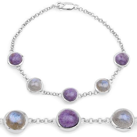 11.00 Carat Genuine Charolite And Labradorite .925 Sterling Silver Bracelet
