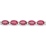 13.50 Carat Genuine Ruby and White Diamond 14K White Gold Bracelet