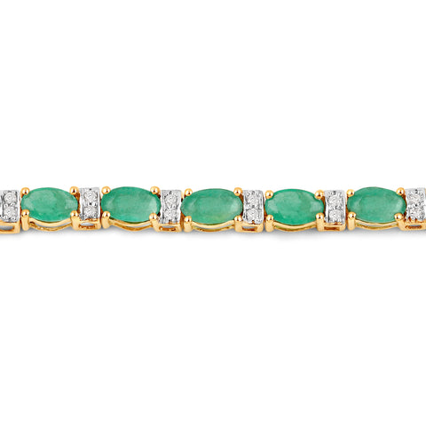 5.21 Carat Genuine Zambian Emerald and White Diamond 14K Yellow Gold Bracelet