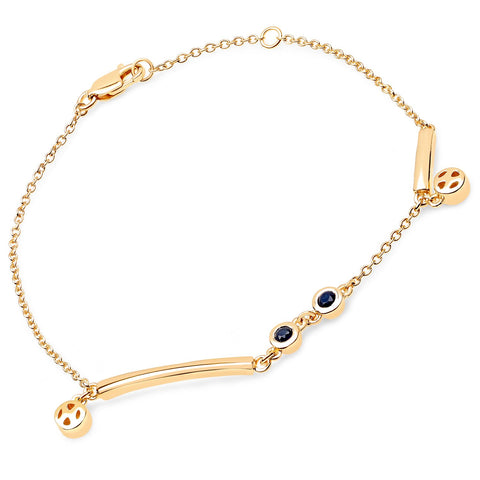 LoveHuang 0.22 Carats Genuine Blue Sapphire Minimalist Bracelet Solid .925 Sterling Silver With 18KT Yellow Gold Plating