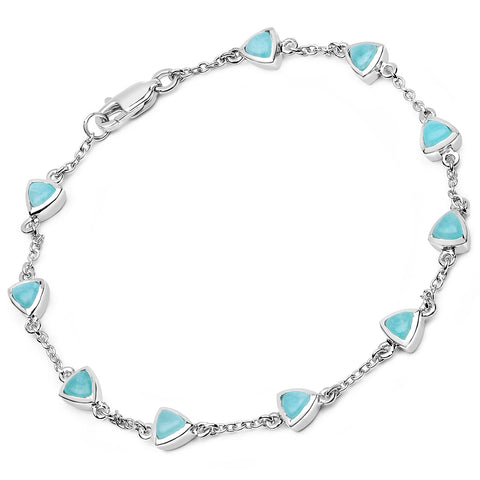 LoveHuang 2.43 Carats Genuine Amazonite Trillion Bracelet Solid .925 Sterling Silver With Rhodium Plating