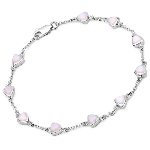 LoveHuang 2.16 Carats Genuine Pink Opal Trillion Bracelet Solid .925 Sterling Silver With Rhodium Plating