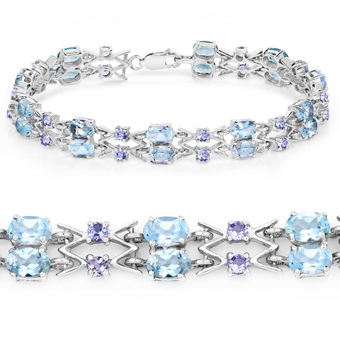 14.36 Carat Genuine Blue Topaz and Tanzanite .925 Sterling Silver Bracelet
