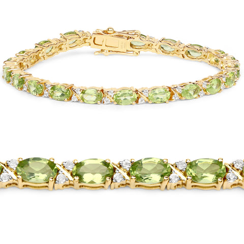 18K Yellow Gold Plated 9.91 Carat Genuine Peridot and White Topaz .925 Sterling Silver Bracelet