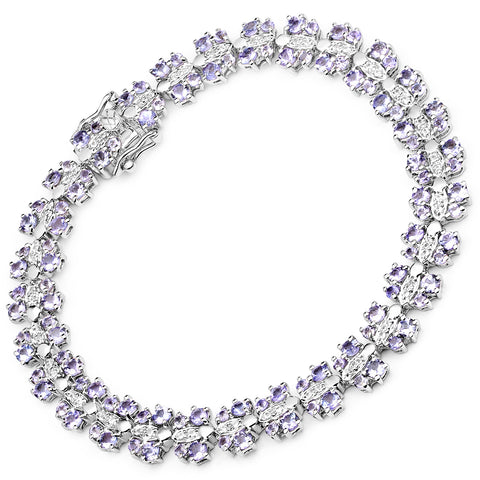 7.02 Carat Genuine Tanzanite and White Sapphire .925 Sterling Silver Bracelet