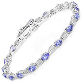 14K White Gold 3.89 Carat Genuine Tanzanite and White Diamond Bracelet