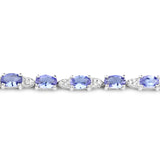 14K White Gold 5.70 Carat Genuine Tanzanite and White Diamond Bracelet