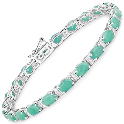 10.01 Carat Genuine Emerald and White Topaz .925 Sterling Silver Bracelet