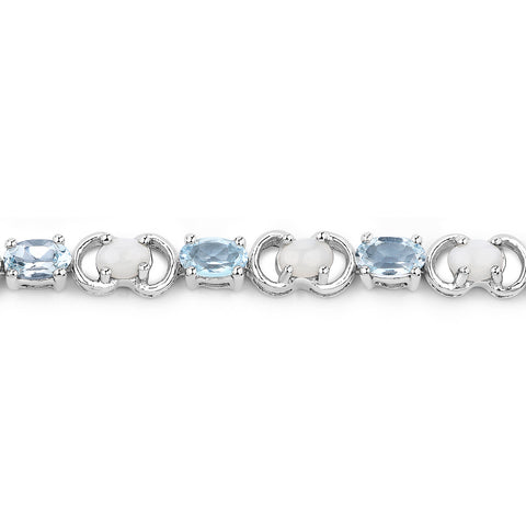 4.81 Carat Genuine Blue Topaz and Opal .925 Sterling Silver Bracelet