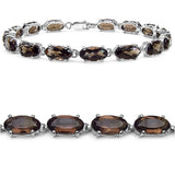 17.10 Carat Genuine Smoky Quartz .925 Sterling Silver Bracelet