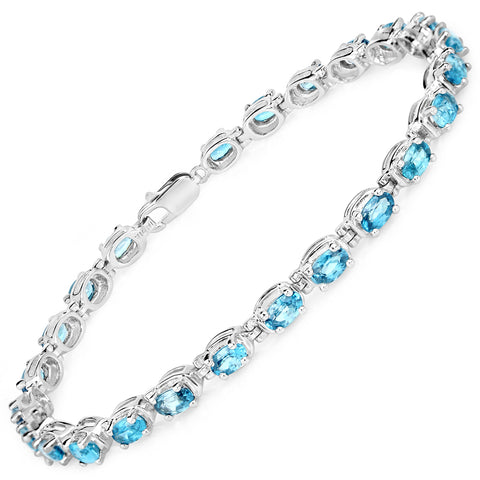 7.92 Carat Genuine Blue Zircon .925 Sterling Silver Bracelet