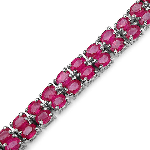 16.72 Carat Genuine Glass Filled Ruby .925 Sterling Silver Bracelet
