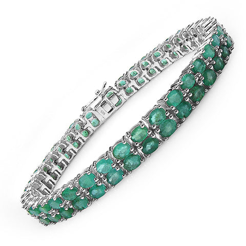 11.70 Carat Genuine Emerald .925 Sterling Silver Bracelet