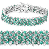 10.73 Carat Genuine Emerald .925 Sterling Silver Bracelet