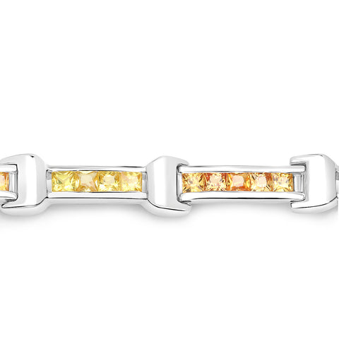 6.48 Carat Genuine Orange Sapphire and Yellow Sapphire .925 Sterling Silver Bracelet