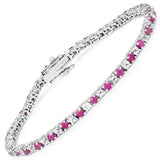 6.09 Carat Genuine Ruby and White Topaz .925 Sterling Silver Bracelet