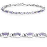 2.80 Carat Genuine Tanzanite .925 Sterling Silver Bracelet