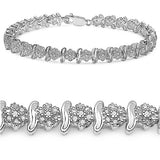 14K White Gold Plated 1.80 Carat Genuine Diamond .925 Sterling Silver Bracelet