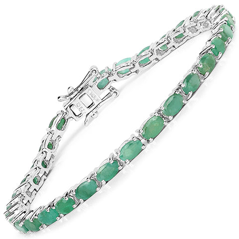 6.40 Carat Genuine Emerald .925 Sterling Silver Bracelet