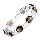 36.88 Carat Genuine Smoky Quartz .925 Sterling Silver Bracelet