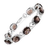 26.91 Carat Genuine Smoky Quartz .925 Sterling Silver Bracelet