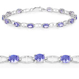 4.29 Carat Genuine Tanzanite .925 Sterling Silver Bracelet