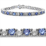 5.25 Carat Genuine Tanzanite and 0.15 ct.t.w Genuine Diamond Accents Sterling Silver Bracelet
