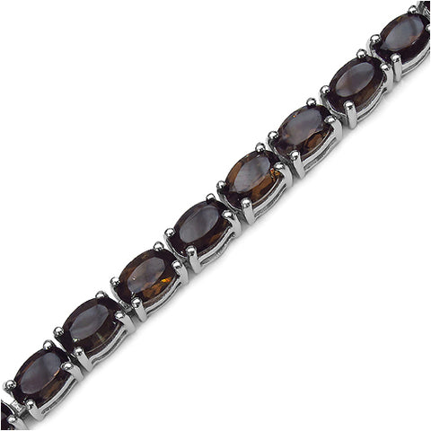 12.76 Carat Genuine Smoky Quartz .925 Sterling Silver Bracelet