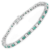 2.50 Carat Genuine Emerald and White Diamond .925 Sterling Silver Bracelet