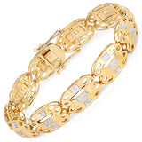 14K Yellow Gold Plated 0.96 Carat Genuine White Diamond .925 Sterling Silver Bracelet