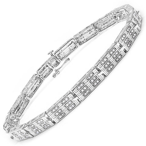 1.16 Carat Genuine White Diamond 14K White Gold Plated .925 Sterling Silver Bracelet