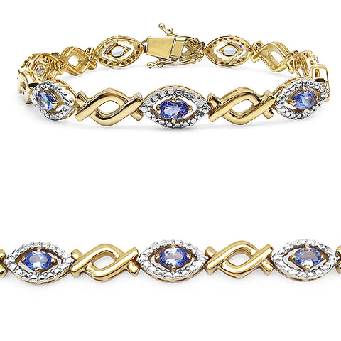 14K Yellow Gold Plated 3.08 Carat Genuine Tanzanite .925 Streling Silver Bracelet