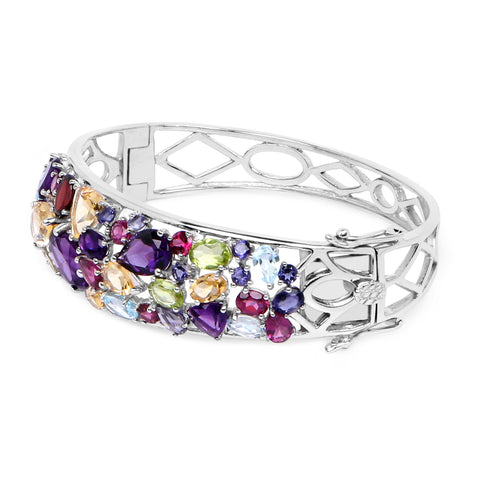 19.62 Carat Genuine Multi Stone .925 Sterling Silver Bangle