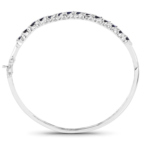 3.50 Carat Genuine Blue Sapphire .925 Sterling Silver Bangle
