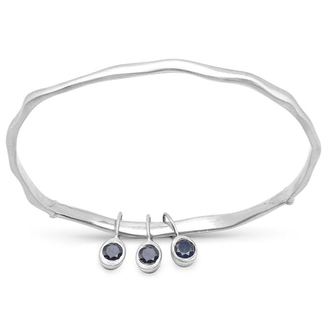 LoveHuang 0.73 Carats Genuine Blue Sapphire Minimalist Bangle Solid .925 Sterling Silver With Rhodium Plating, Matte Finish