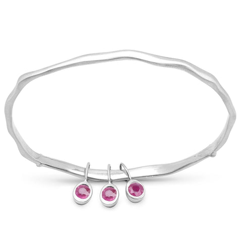 LoveHuang 0.81 Carats Genuine Ruby Minimalist Bangle Solid .925 Sterling Silver With Rhodium Plating, Matte Finish