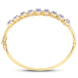 14K Yellow Gold Plated 3.30 Carat Genuine Tanzanite and White Topaz .925 Sterling Silver Bangle