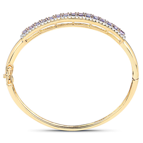 14K Yellow Gold Plated 4.39 Carat Genuine Tanzanite and White Topaz .925 Sterling Silver Bangle