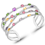 5.33 Carat Genuine Multi Stones .925 Sterling Silver Cuff Bangle