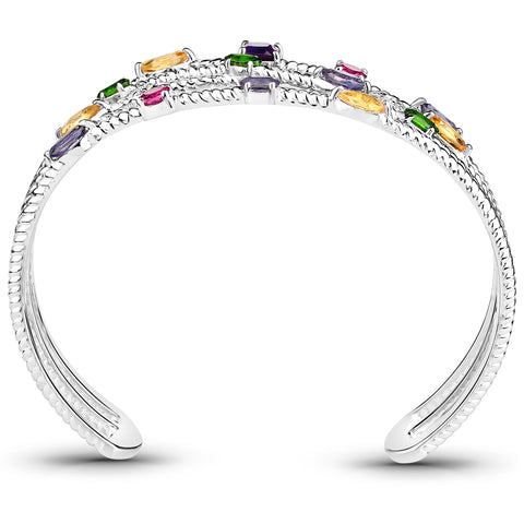 3.66 Carat Genuine Multi Stones .925 Sterling Silver Cuff Bangle