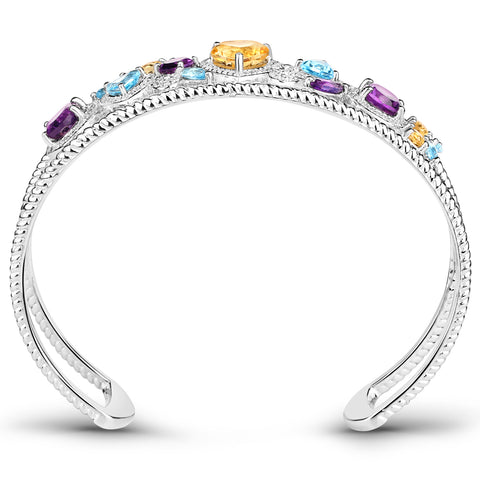 7.27 Carat Genuine Multi Stones .925 Sterling Silver Cuff Bangle