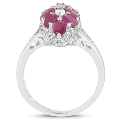 3.00 Carat Genuine Ruby and White Topaz .925 Sterling Silver Ring